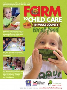 AHA Farm to Child Care in Wake County Local Food report cover - child eating watermelon image