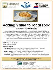 Adding value to local food webinar promotion image