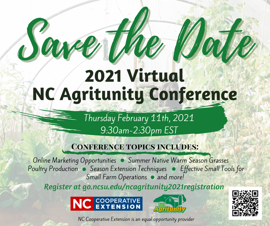 Announcement for virtual NC Agritunity Conference February 11th 2021