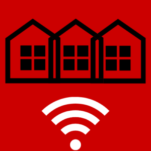 Icon showing row of three houses above wifi signal logo- Broadband in Community and Rural Development